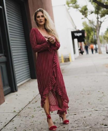 kırmızı çizgili yazlık elbise 2018