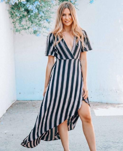 çizgili keten elbise modeli 2018 2019