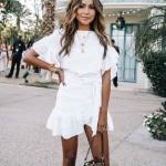hafta sonu stili beyaz elbise