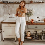 yüksek bel beyaz kot pantolon 2019