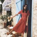 yazlık kırmızı elbise modelleri 2019