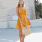 yazlık sarı elbise modeli 2018 19