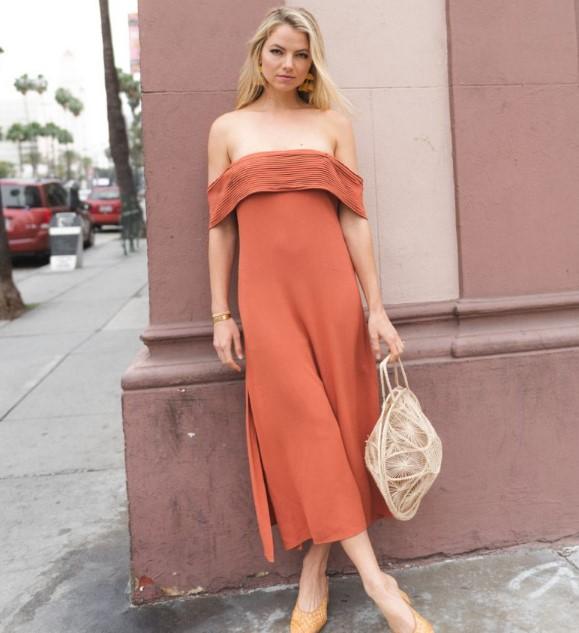 yazlık turuncu elbise