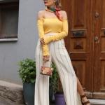 geniş paça çizgili pantolon modeli 2019