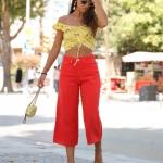 kırmızı geniş paça pantolon 2019