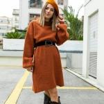 2019 kış modası kahverengi triko kazak elbiseler