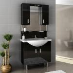 Siyah modern banyo dolabı