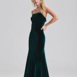 Straplez kadife abiye elbise fiyatı 249,90 TL