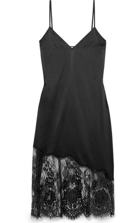 dantel etekli saten elbise 2019