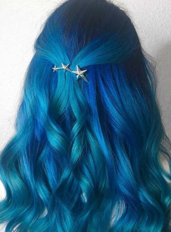 Kobalt Mavisi Balyajlı saç rengi