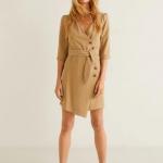 Mango Anvelop kesimli düğmeli elbise 2019 2020