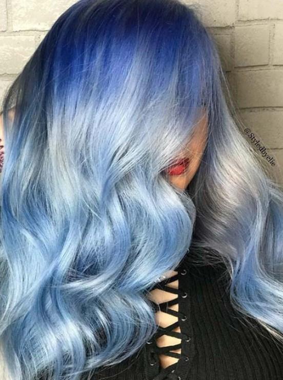 mavi beyaz saç rengi