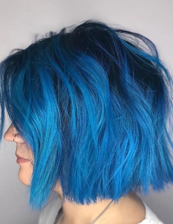 mavi saç renkleri ve modelleri 2019