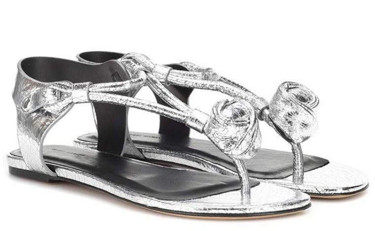 Metalik Gümüş Düz Sandalet 2019