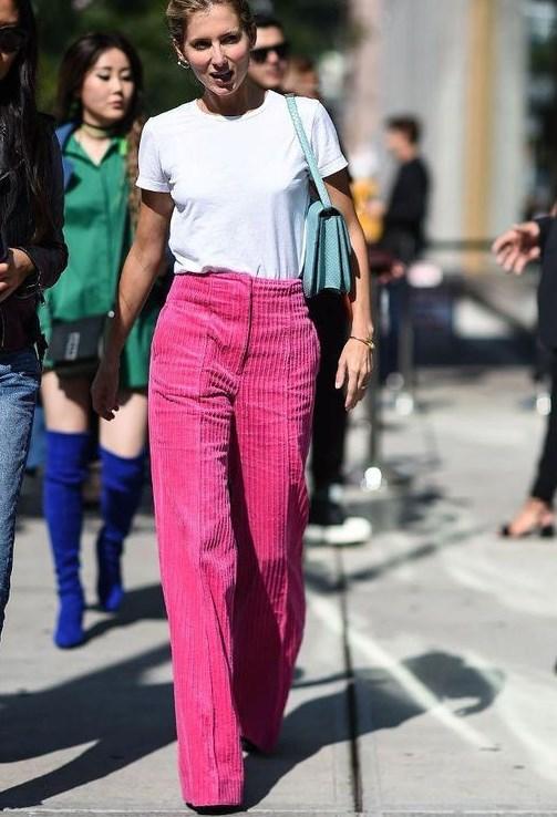 pembe flared pantolon