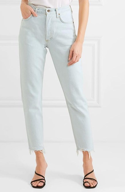 taşlanmış yüksek belli kot pantolon 2020