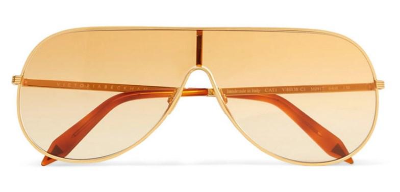 Victoria Beckham Altın Tonlu Aviator Güneş Gözlüğü