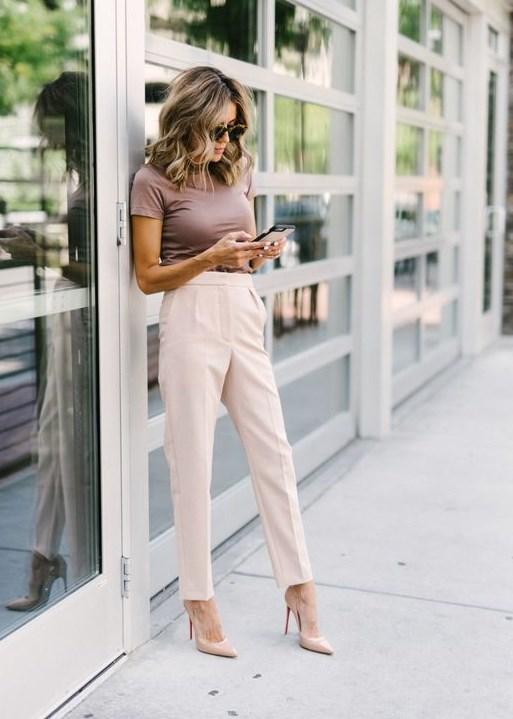2019 yaz bayan kumaş pantolon kombinleri