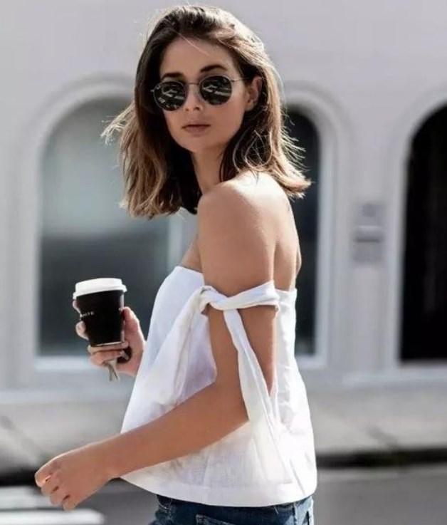 açık omuz beyaz bluz modelleri 2019