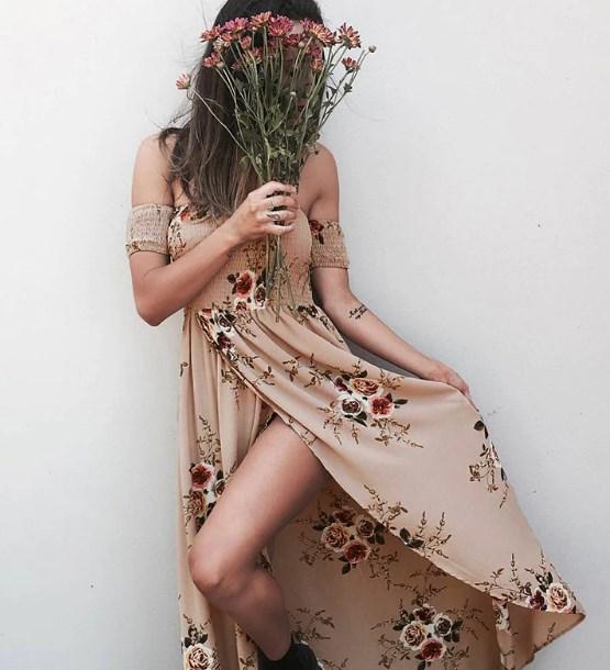 çiçek desenli omuz açık elbiseler 2019