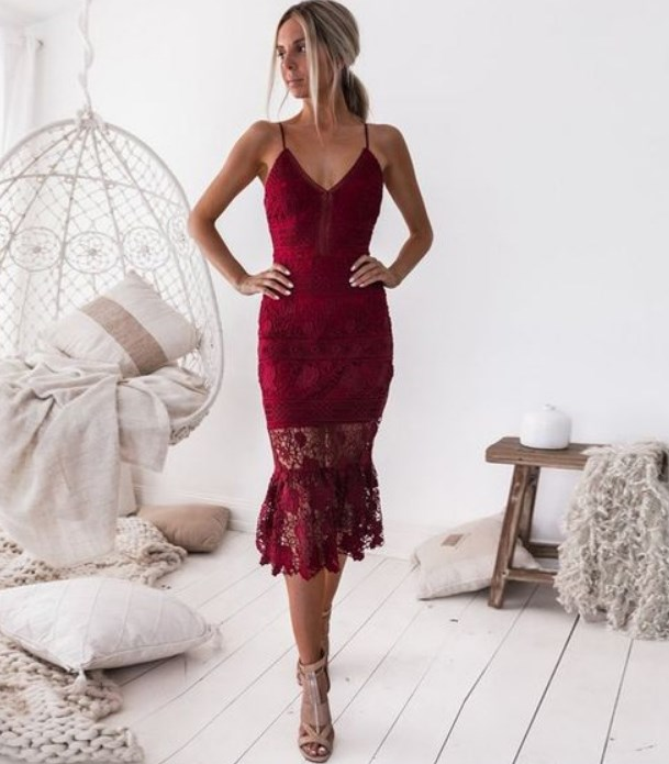 dantelli kırmızı balo elbise modeli 2019