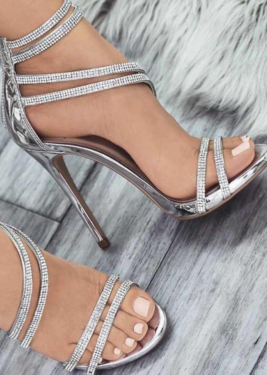 gümüş renk balo ayakkabısı 2019