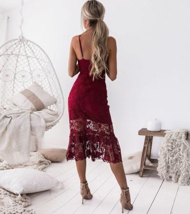 kırmızı dantelli balo elbisesi 2019