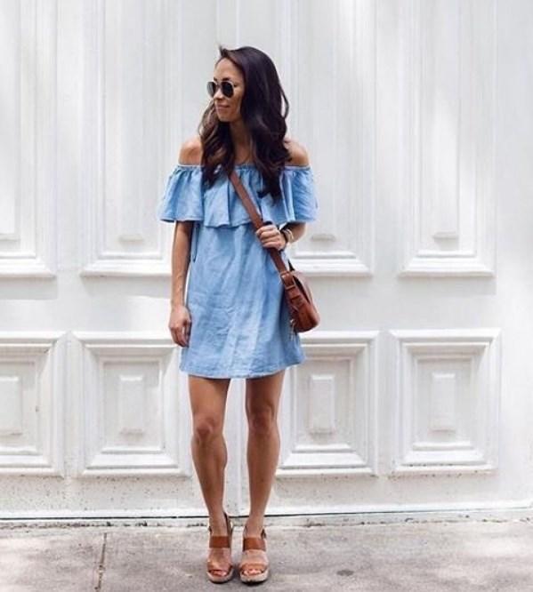 mavi keten yaz elbiseleri 2019