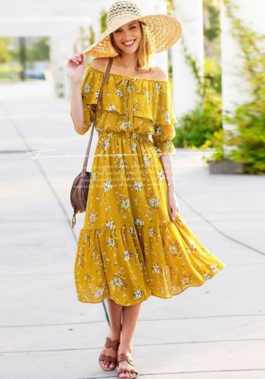omuz açık çiçek desenli midi elbise 2019