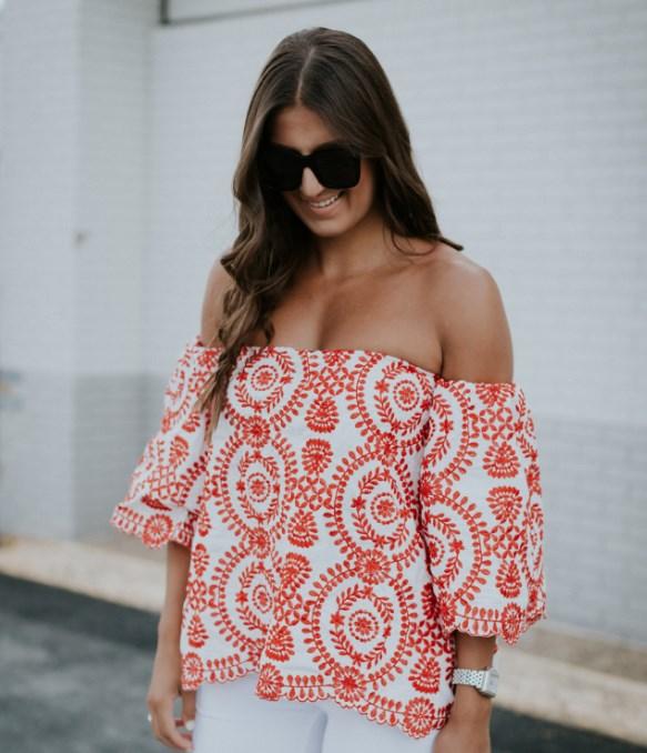omuz açık yazlık desenli bluz modelleri 2019