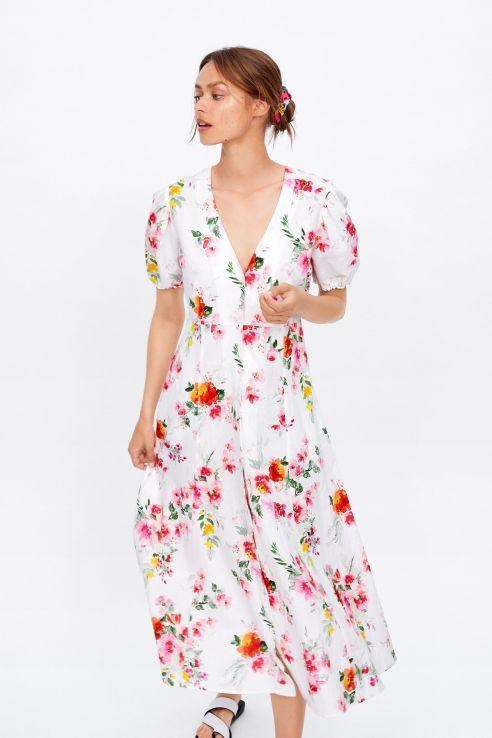 çiçek desenli zara puf kollu elbise modeli