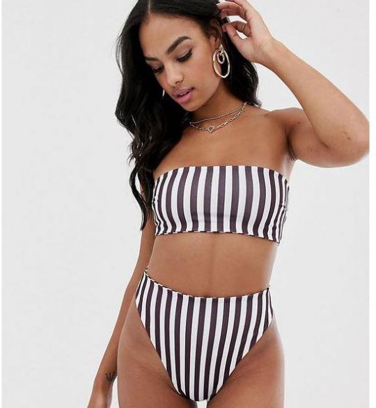 çizgili straplez bikini modeli 2019
