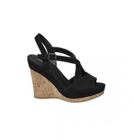 deichmann dolgu topuk siyah sandalet 2019