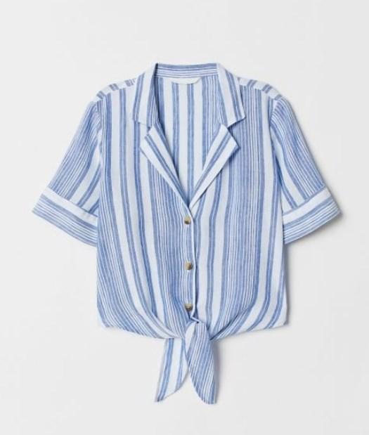 H & M önden düğümlü gömlek modeli