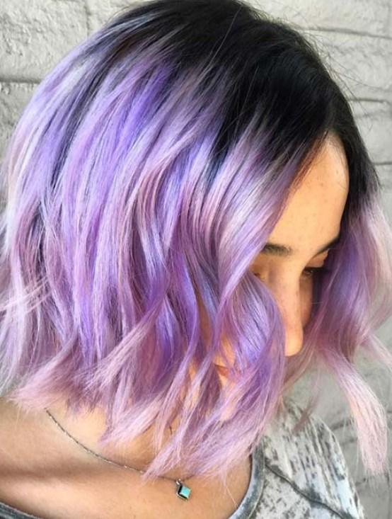 lavanta rengi bob saç modeli