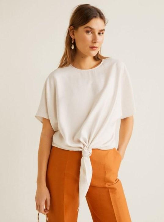 mango önden düğümlü bluz modeli 2019 20