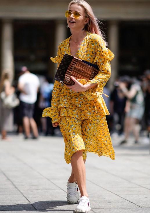 puf kollu yazlık sarı elbise modeli 2019 2020