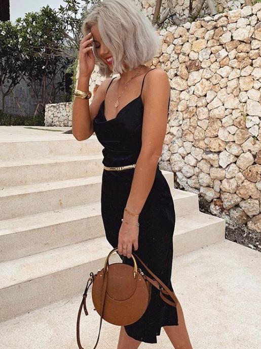 yazlık siyah kalem elbise modeli