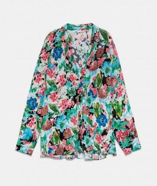zara çiçek desenli yazlık bluz modeli 2019