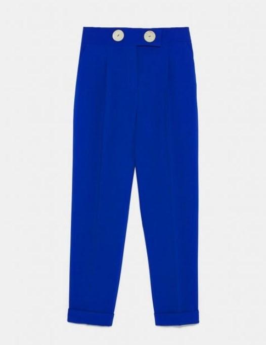 Zara düğmeli mavi pantolon modeli