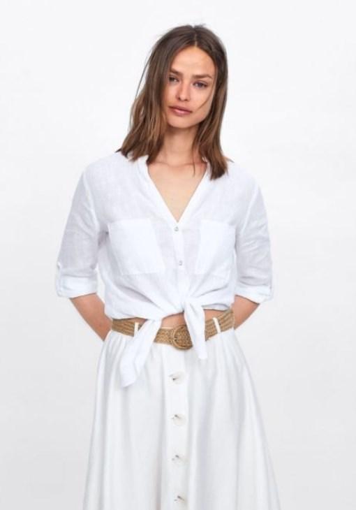 zara önden düğümlü beyaz bluz 2020