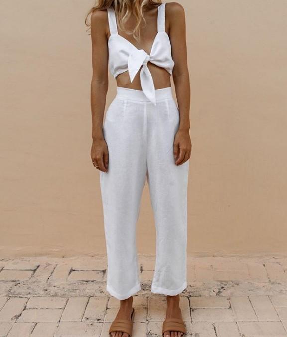 2019 Yaz Beyaz Keten Pantolon Modelleri