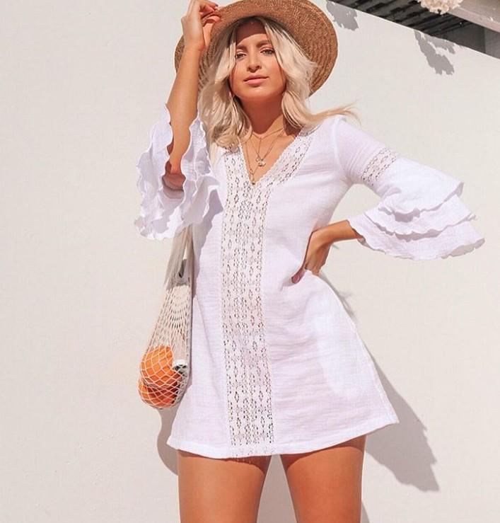 beyaz yazlık keten elbiseler 2020