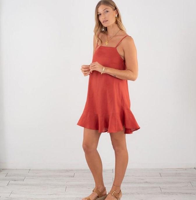 kırmızı keten elbise 2019 yaz