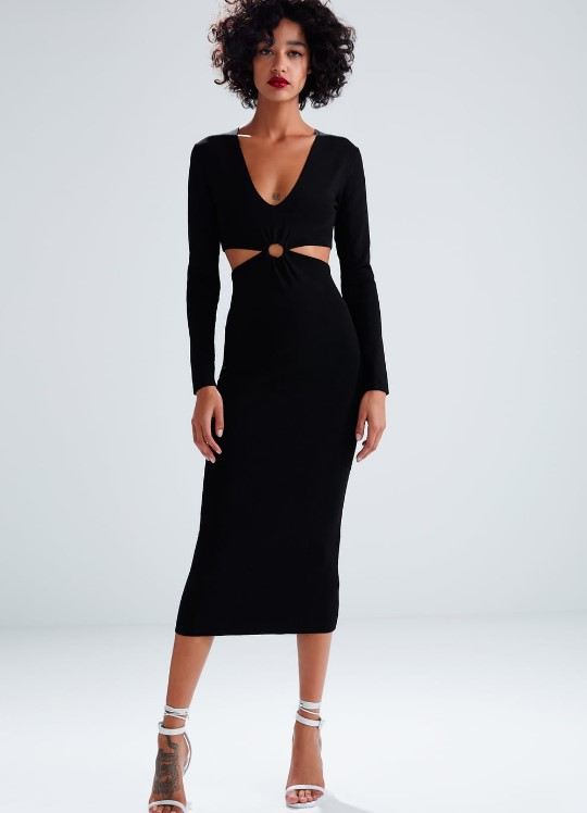 zara cut out elbise