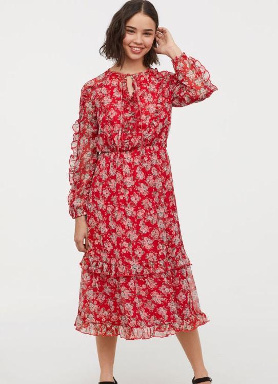 Hm çiçek desenli kırmızı elbise modeli 2020