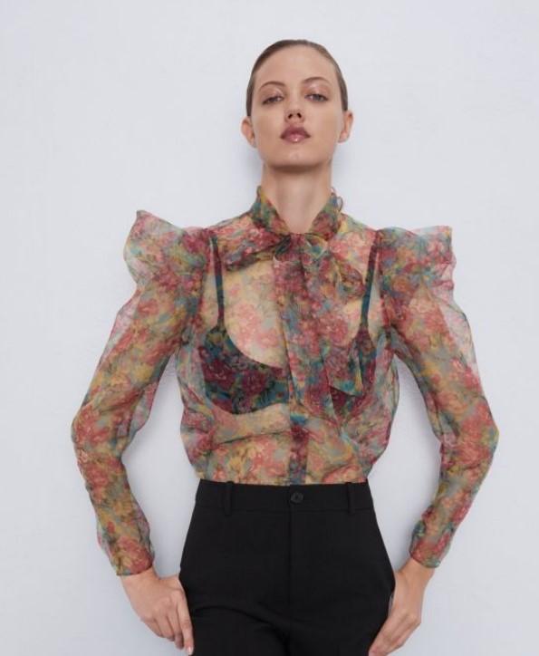 Zara çiçek desenli bluz modeli
