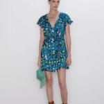 Zara çiçek desenli elbise modeli 2020 sonbahar