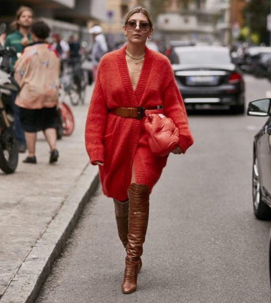 sonbahar kış sokak modası 2020 hırkalar