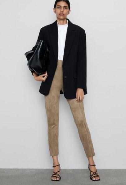 Zara bej süet pantolon